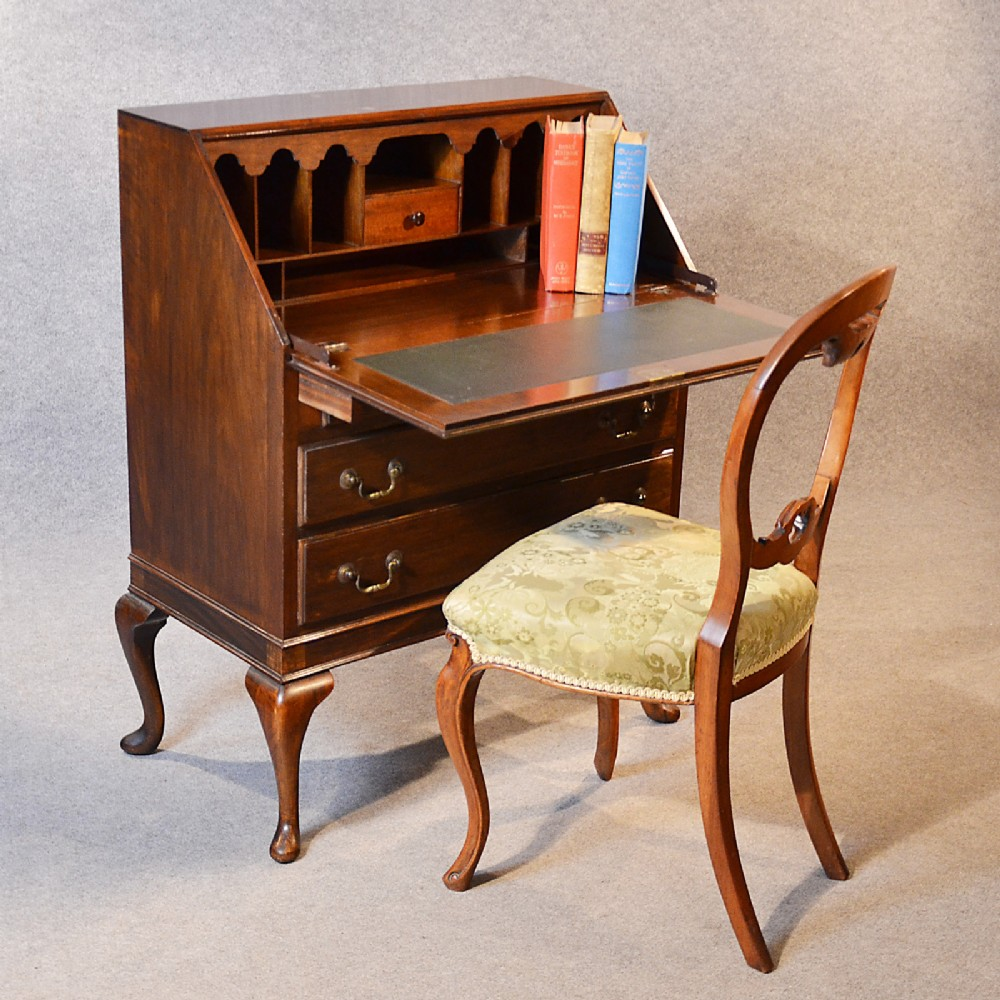 antique bureau writing desk mahogany english edwardian queen anne quality  c1910 - Antique Bureau Writing Desk Mahogany English Edwardian Queen Anne