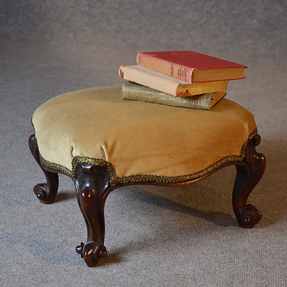 Antique Stool Small Footstool Upholstered Gout Foot Rest