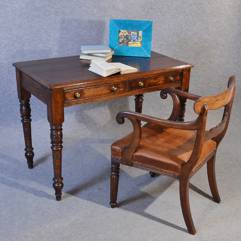 Antique Desk Victorian English Oak Writing Study Table