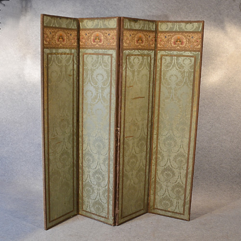 Antique Screen Quality Silk Panel Victorian Room Divider Folding Partition C1