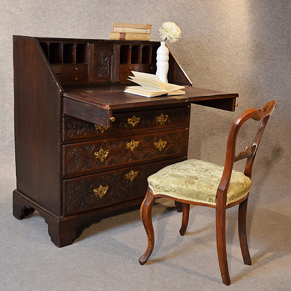 antique bureau carved oak 3' georgian english 18th century writing desk  c1740 - Antique Bureau Carved Oak 3' Georgian English 18th Century Writing
