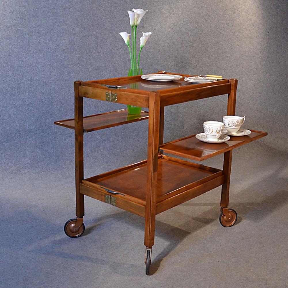 Antique Serving Tea Trolley Walnut Edwardian Vintage Folding Butler