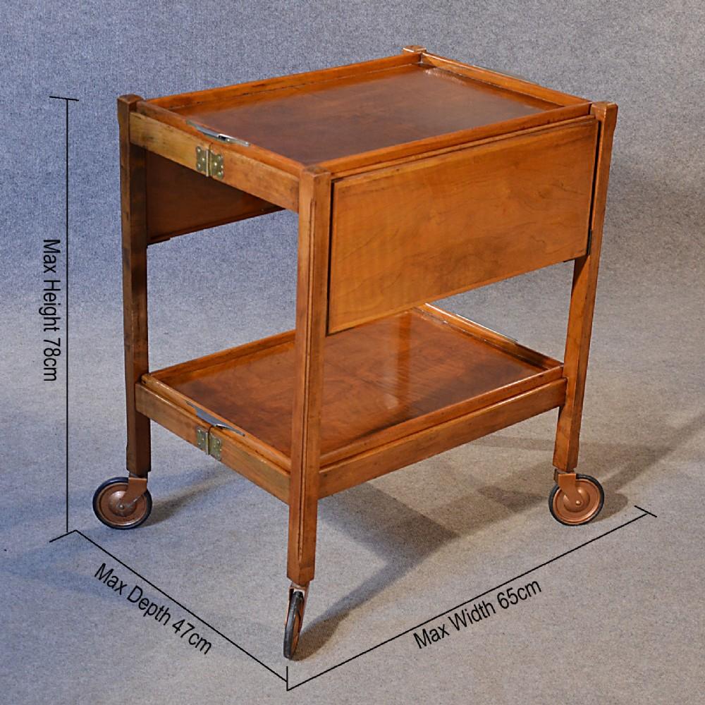 Antique Serving Tea Trolley Walnut Edwardian Vintage Folding Butler Buffet C1910 281717