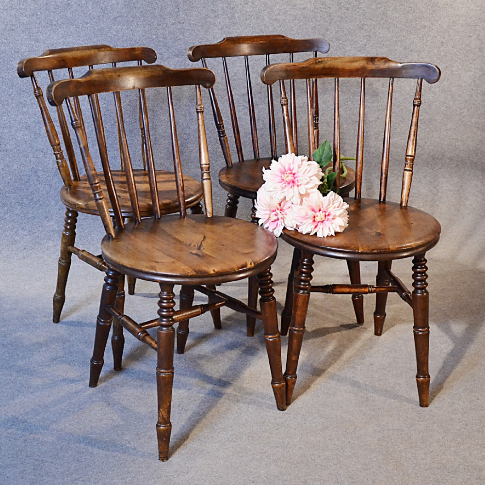 antique set 4 chairs victorian kitchen dining windsor quality english beech  1900 - Antique Set 4 Chairs Victorian Kitchen Dining Windsor Quality