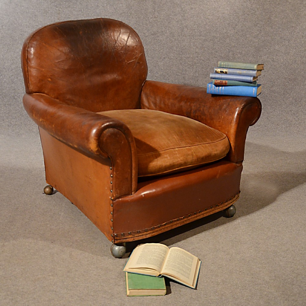 Antique easy chair - Antique Leather Armchair Vintage Club Easy Chair Victorian English C1900