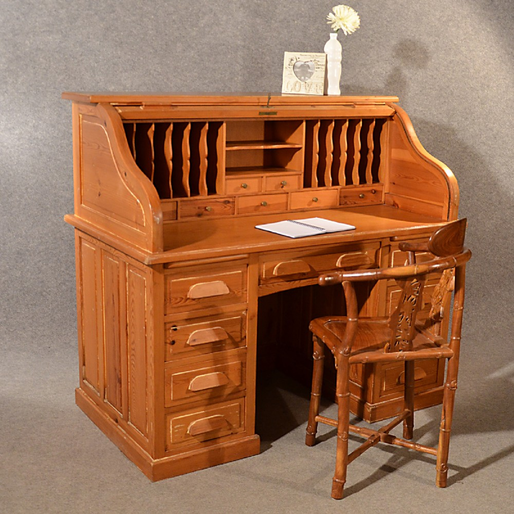 Antique Rolltop Bureau Pine Roll Top Tambour Desk Large