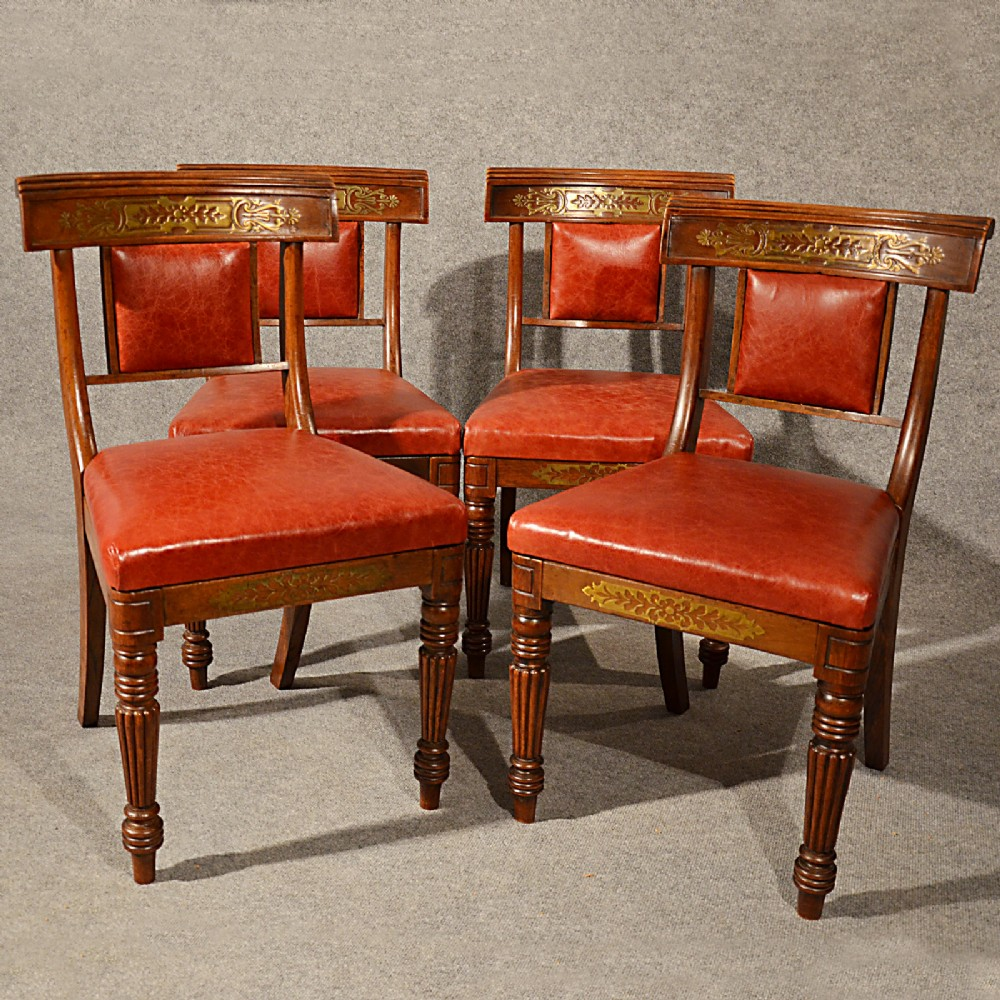 Antique regency dining chairs - Antique Dining Chairs Leather Seat Quality English Regency Brass Inlaid C1880