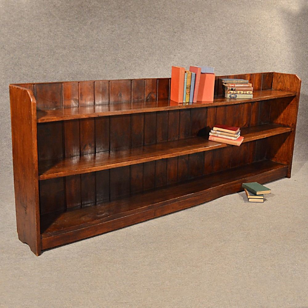 Antique Long Bookcase Large Oak Library Cabinet Quality English Victorian C1900 299921