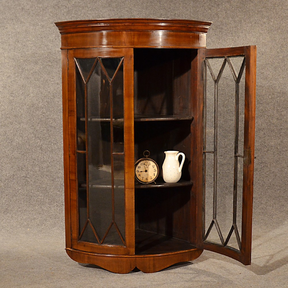Antique walnut bow corner cupboard quality english display for Antique display cabinet