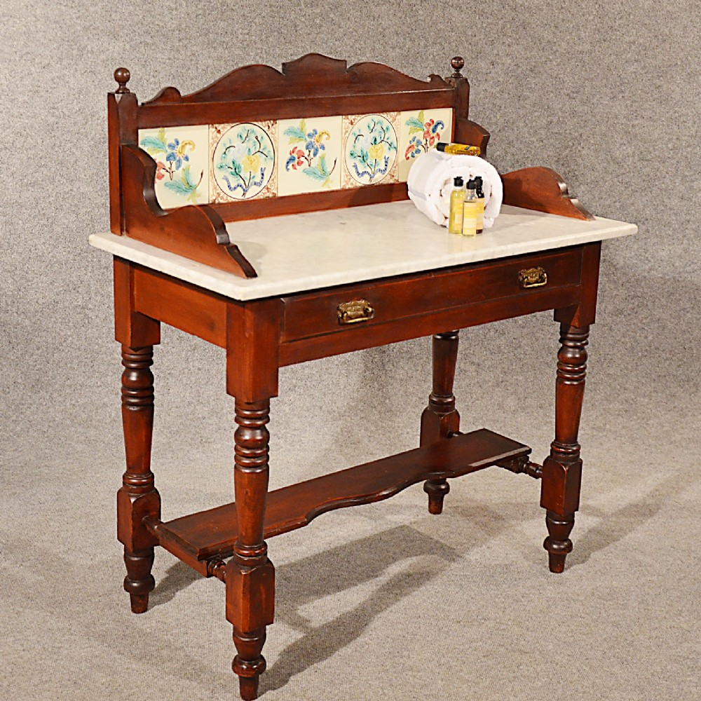 Exceptional Antique Marble Wash Stand Vanity Dressing Table Fine Tiles Quality English  C1890