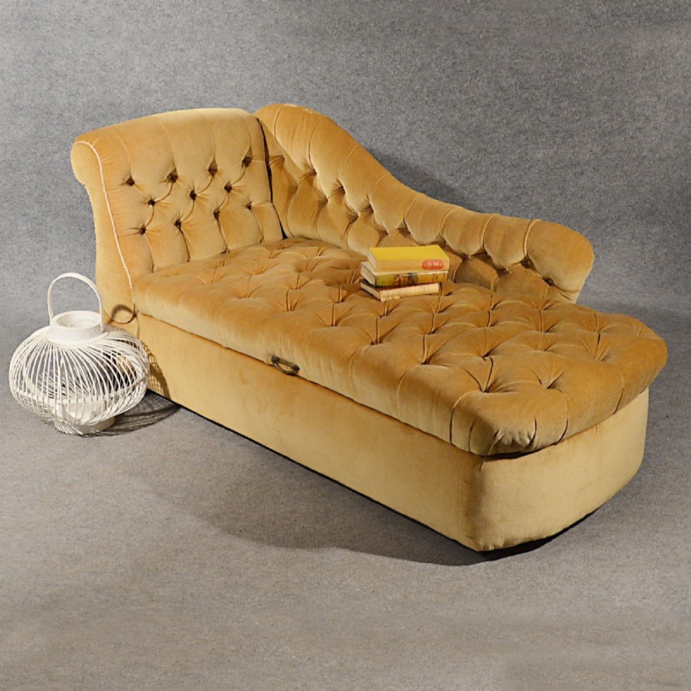 Antique chaise longue day bed sofa couch settee ottoman for Chaise longue double sofa bed