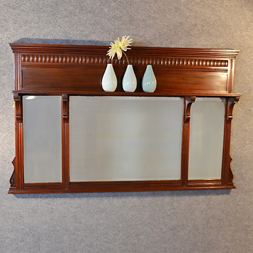 Antique Wall Mirror Over Mantle Display Shelf English