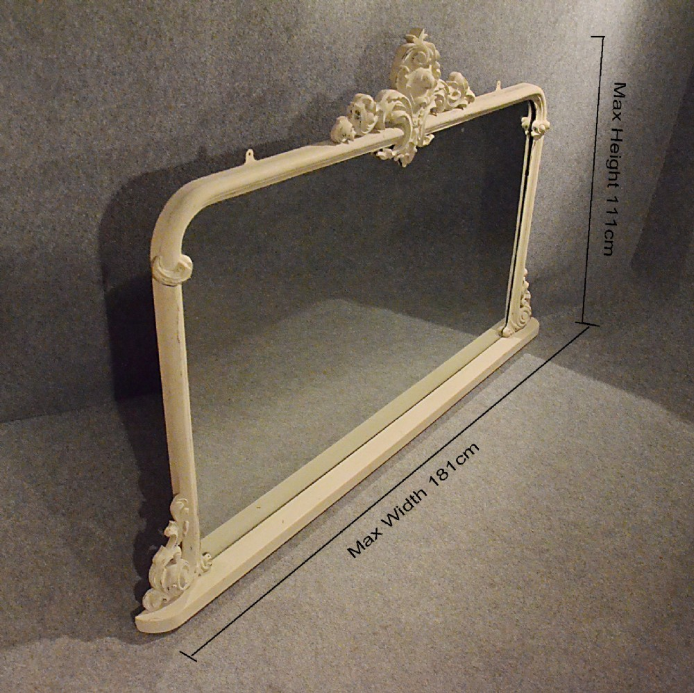 Antique Mirror Large Victorian Overmantle Ornate Painted