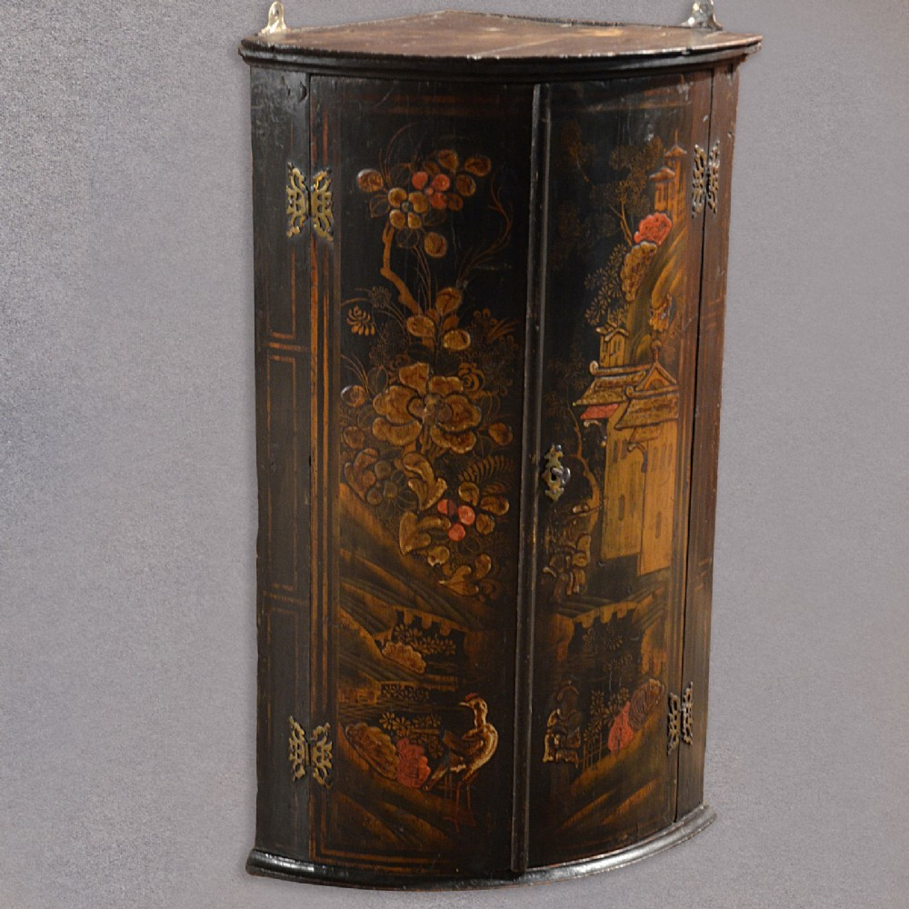 Antique Chinese Painted Corner Cabinet, Bow Front ...