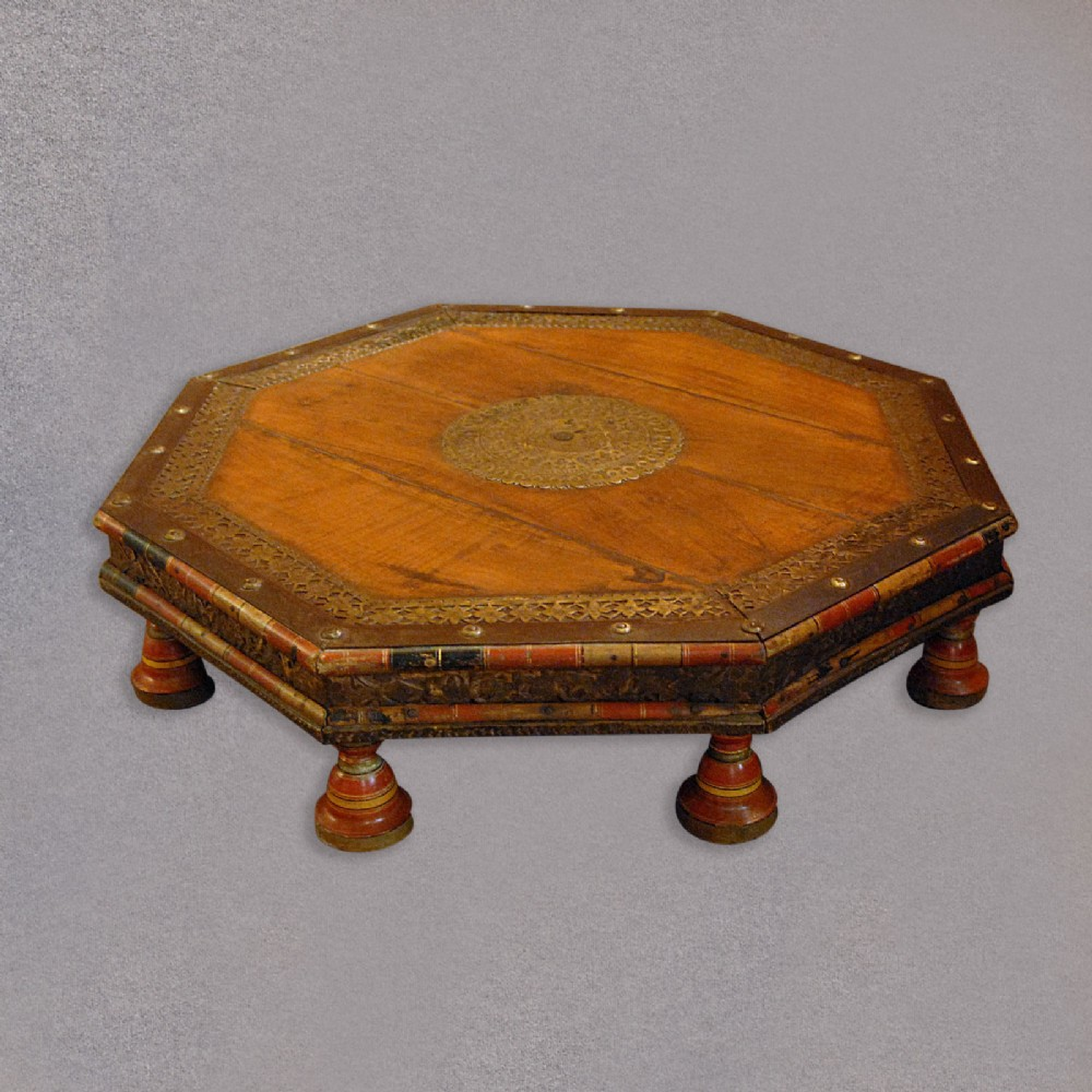 Antique Gujarat Takhat, Indian Low Coffee Table, 19th