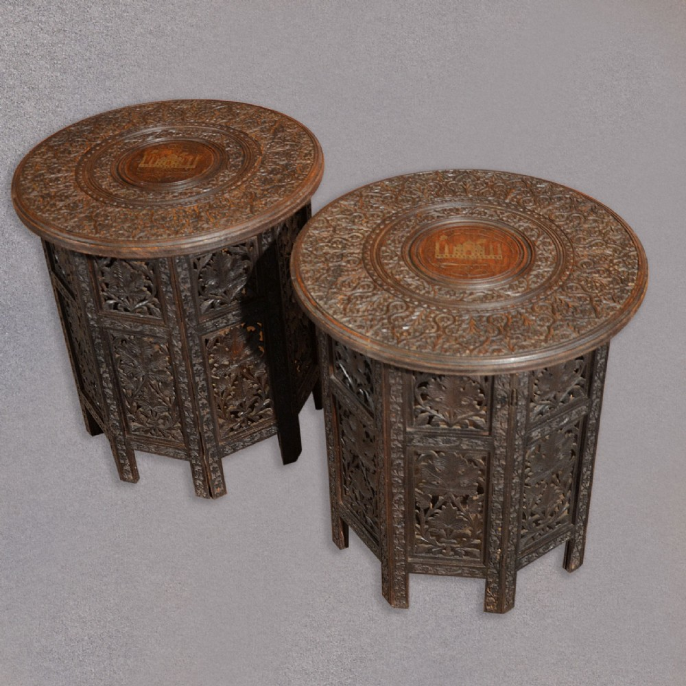 Superbe Antique Pair Of Indian Carved Wooden Campaign Tables C19th Raj Side Lamp  Tables