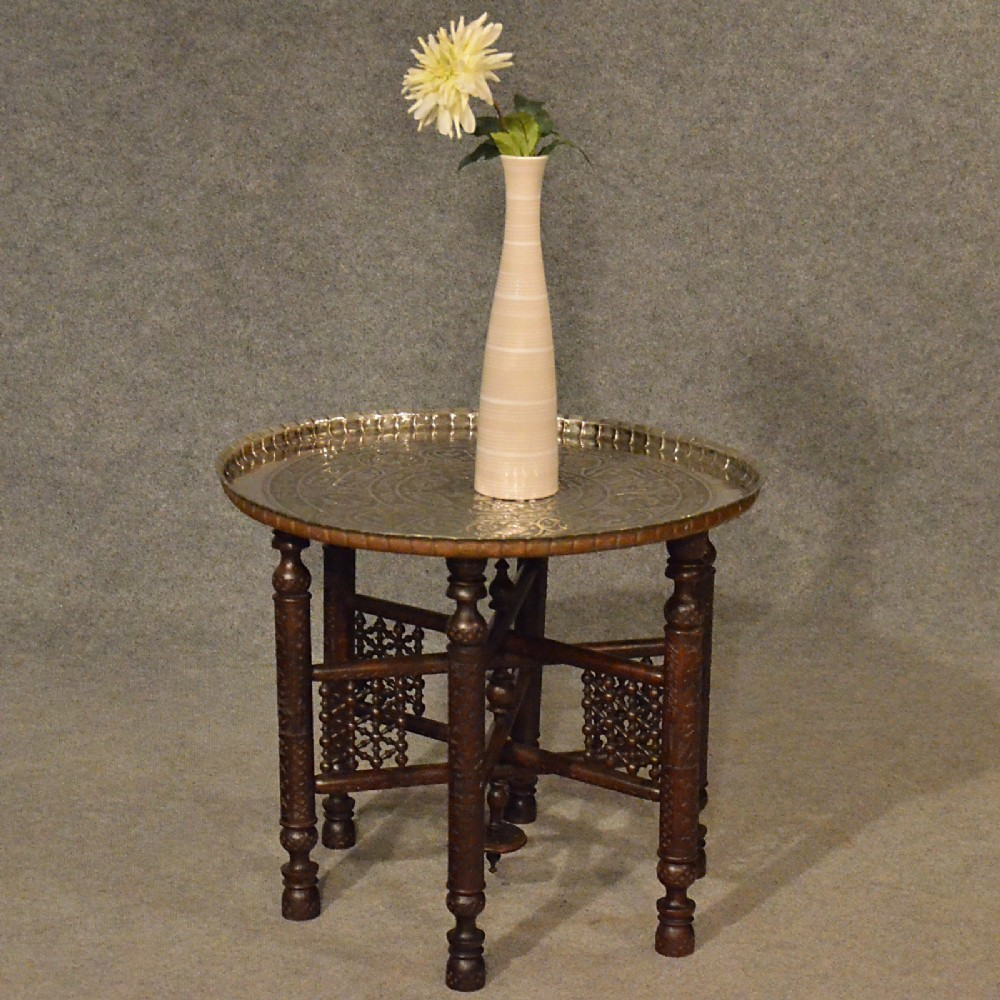 The antique coffee tea table berber benares tray lamp oriental folding - Antique Coffee Tea Table Berber Benares Tray Lamp Oriental Folding Stand C1900
