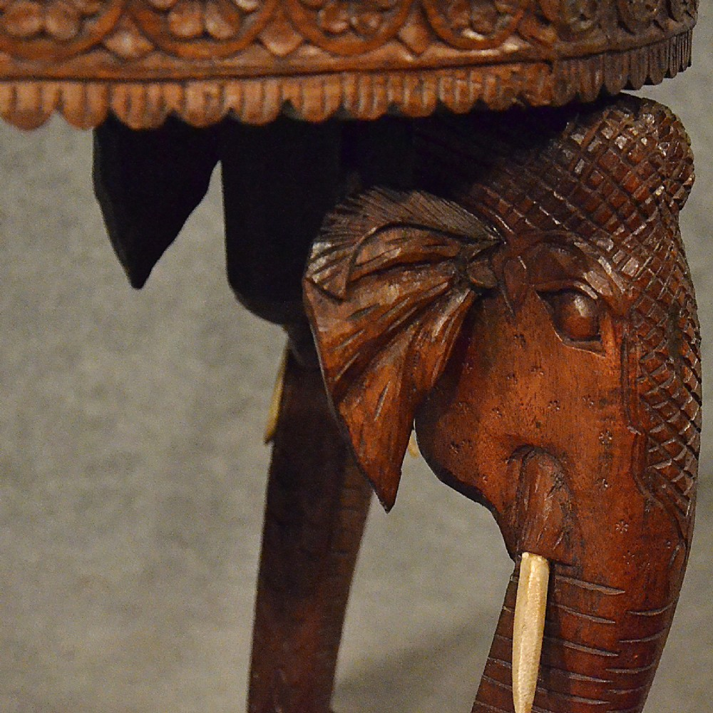 Antique Elephant Table Lamp Wine Side Vintage Art Deco Quality Carved Teak  C1930 | 365508 | Sellingantiques.co.uk