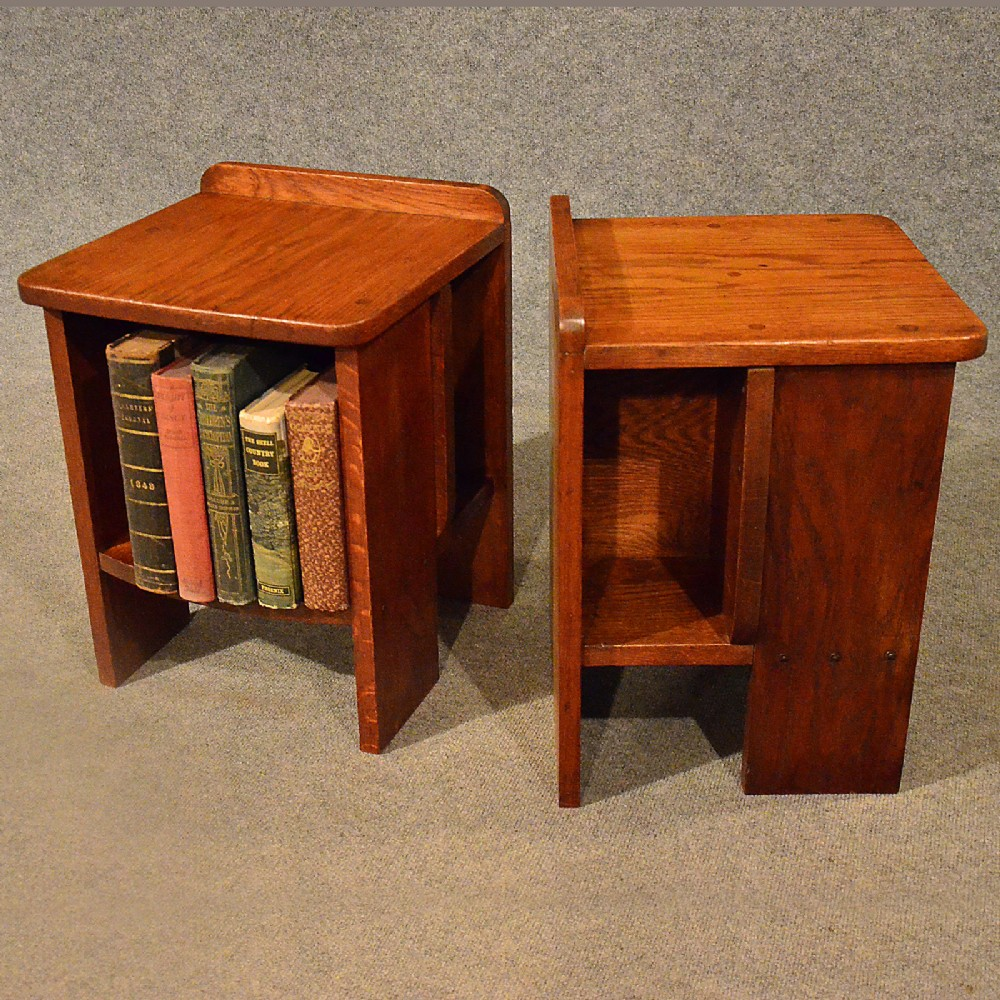 arts crafts pair small cabinet bookcase side table bedside heals liberty  c1930 - Arts & Crafts Pair Small Cabinet Bookcase Side Table Bedside Heals