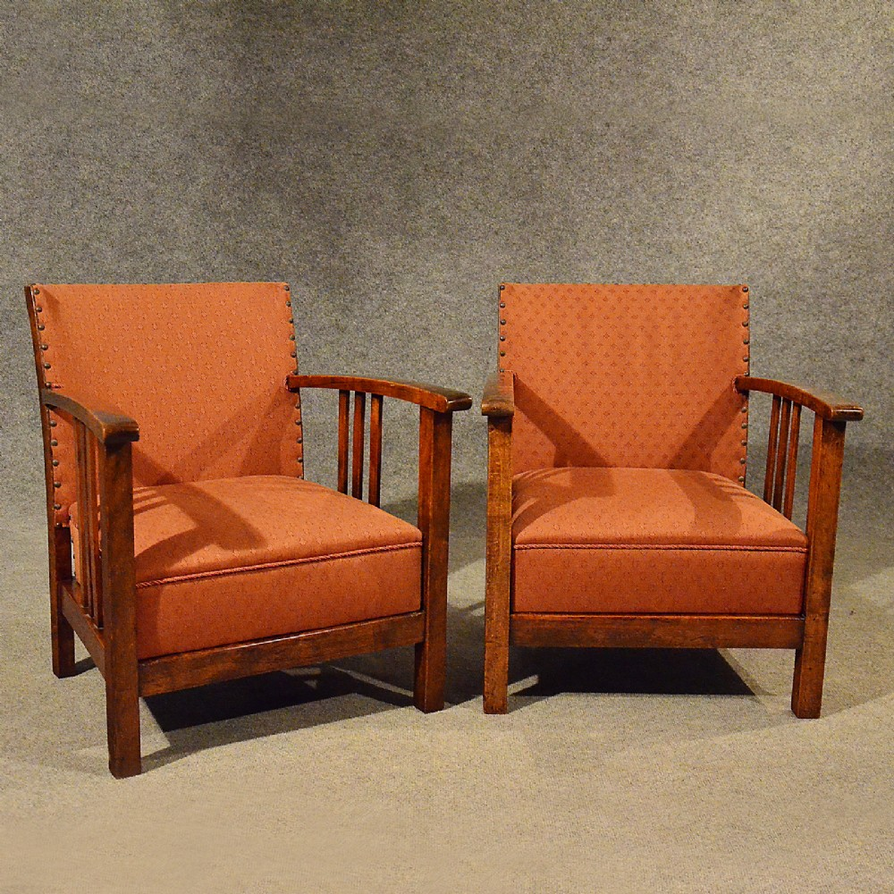 Antique Art Deco Pair Of Armchairs Low Compact Club Chairs ...