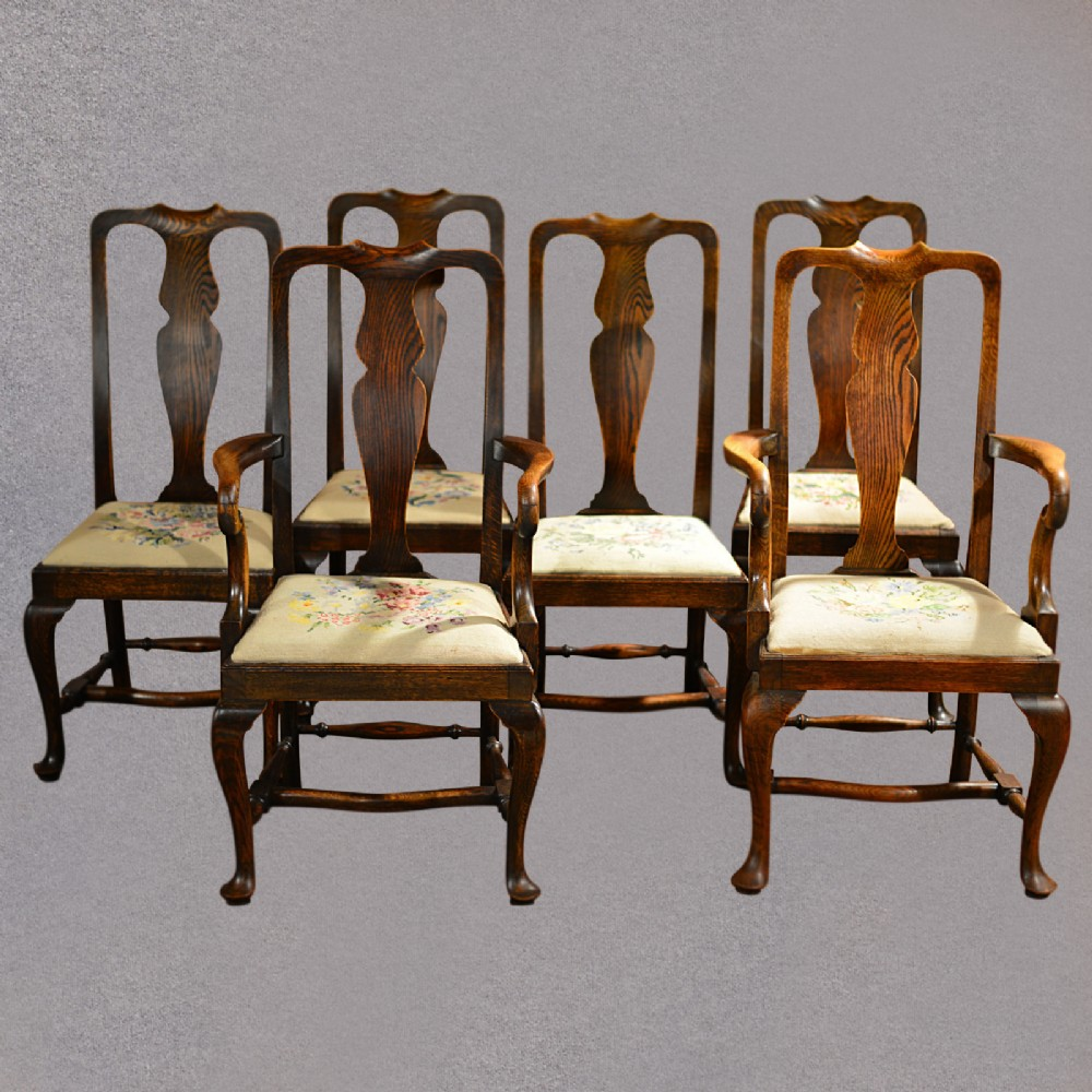 Antique Set Of Six Dining Chairs, Victorian 'queen Anne' Style ...