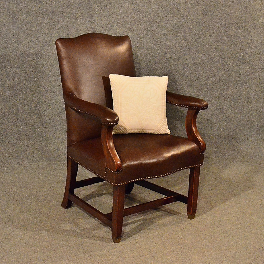 Antique Leather Study Chair Mahogany Frame Gainsborough Armchair