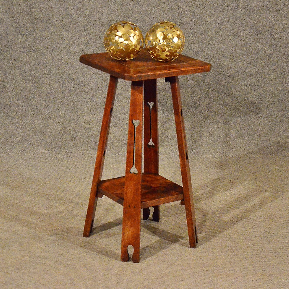 Antique Tall Side Table Lamp Stand Liberty Quality Oak Arts Crafts