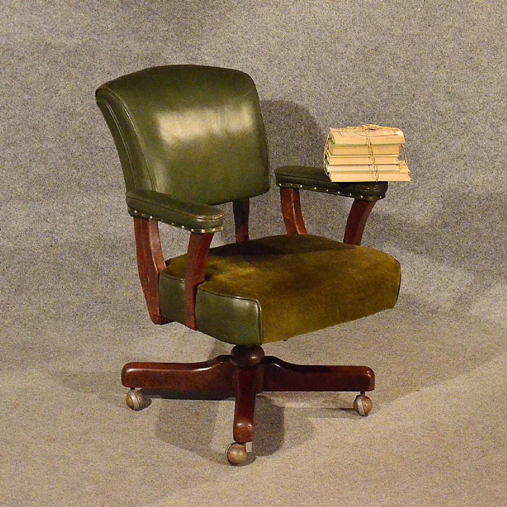 Antique Leather Office Desk Study Swivel Captains Chair