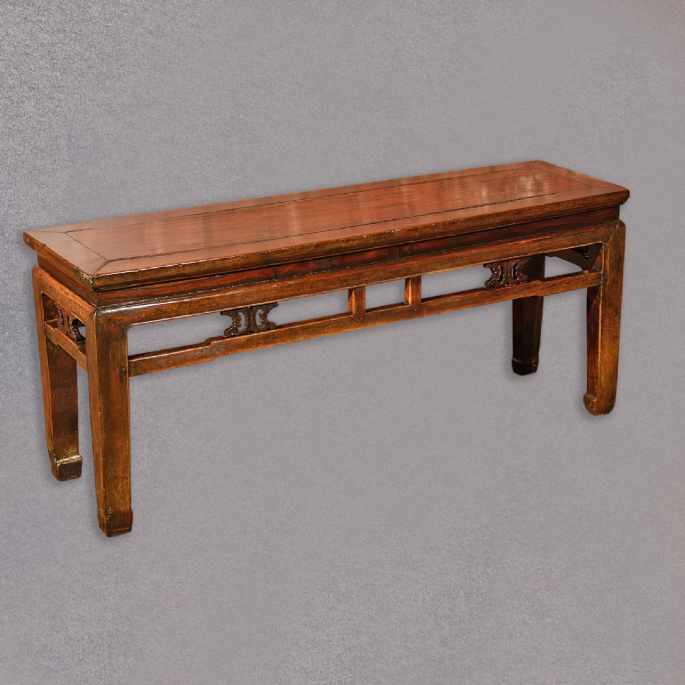 Antique Chinese Bench, Oriental Elm Seat, Hardwood Coffee
