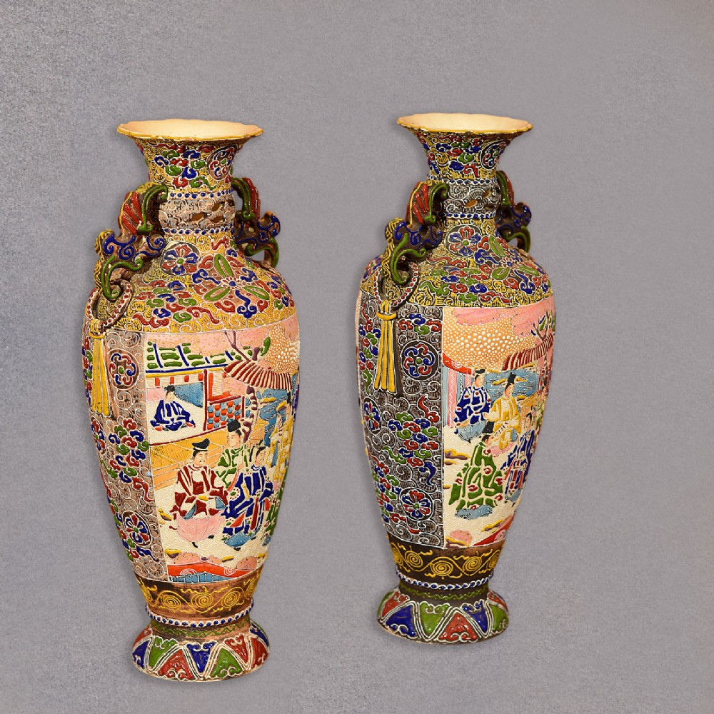 Pair of japanese moriage vases slip earthenware pots urns pair of japanese moriage vases slip earthenware pots urns antique vintage reviewsmspy