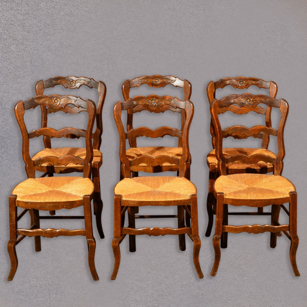 set of six antique french rush seat dining chairs, oak country