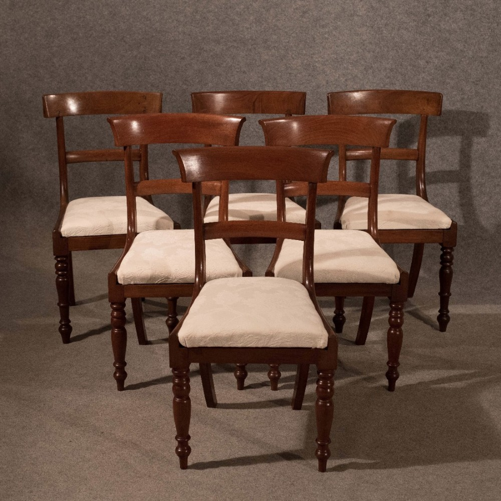 Antique dining chairs set of 6 quality mahogany regency english c1835