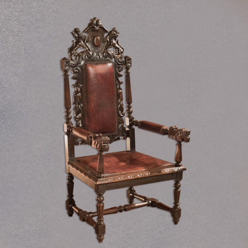 antique gothic revival hall chair victorian carved english oak leather c1880 - Antique Gothic Revival Hall Chair, Victorian, Carved English Oak