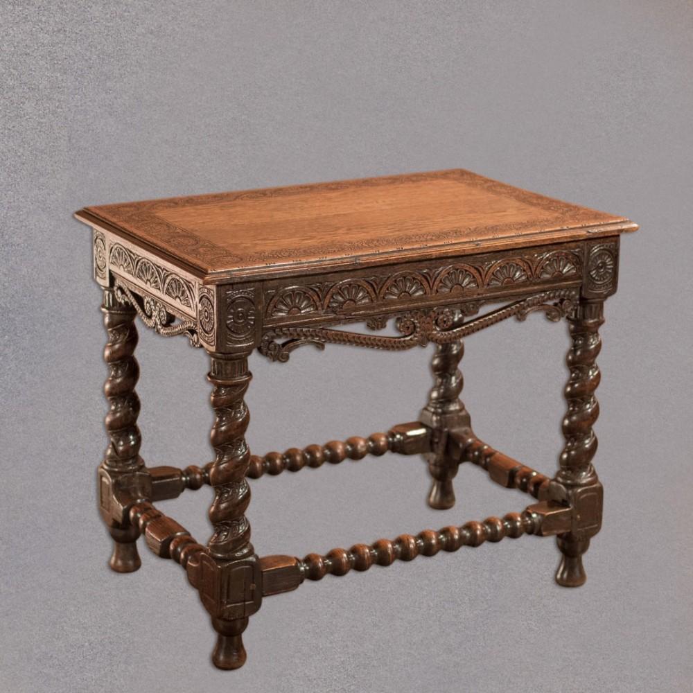 Antique Jacobean Revival Side Table English Oak Victorian Hall Furniture 415870