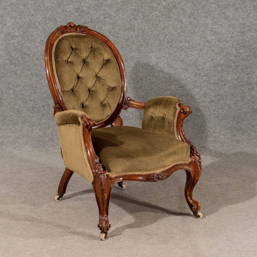 Antique easy chair - Antique Armchair Salon Easy Chair Quality Walnut Frame English Victorian C1880