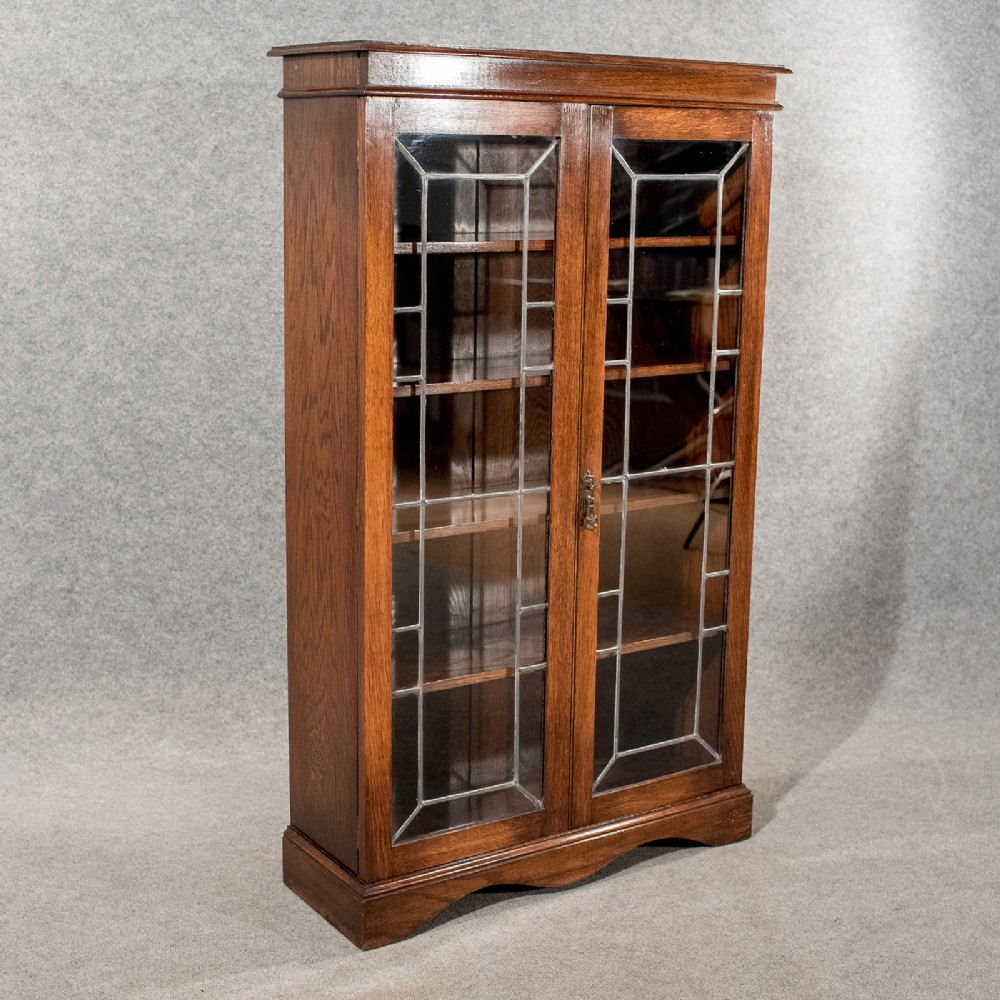 antique oak display bookcase china cabinet quality leaded glass edwardian  c1910 - Antique Oak Display Bookcase China Cabinet Quality Leaded Glass