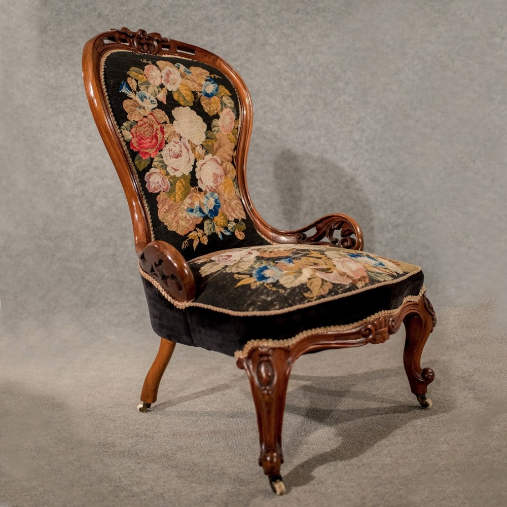 antique walnut spoon back armchair chair needlepoint tapestry victorian  c1840 - Antique Walnut Spoon Back Armchair Chair Needlepoint Tapestry