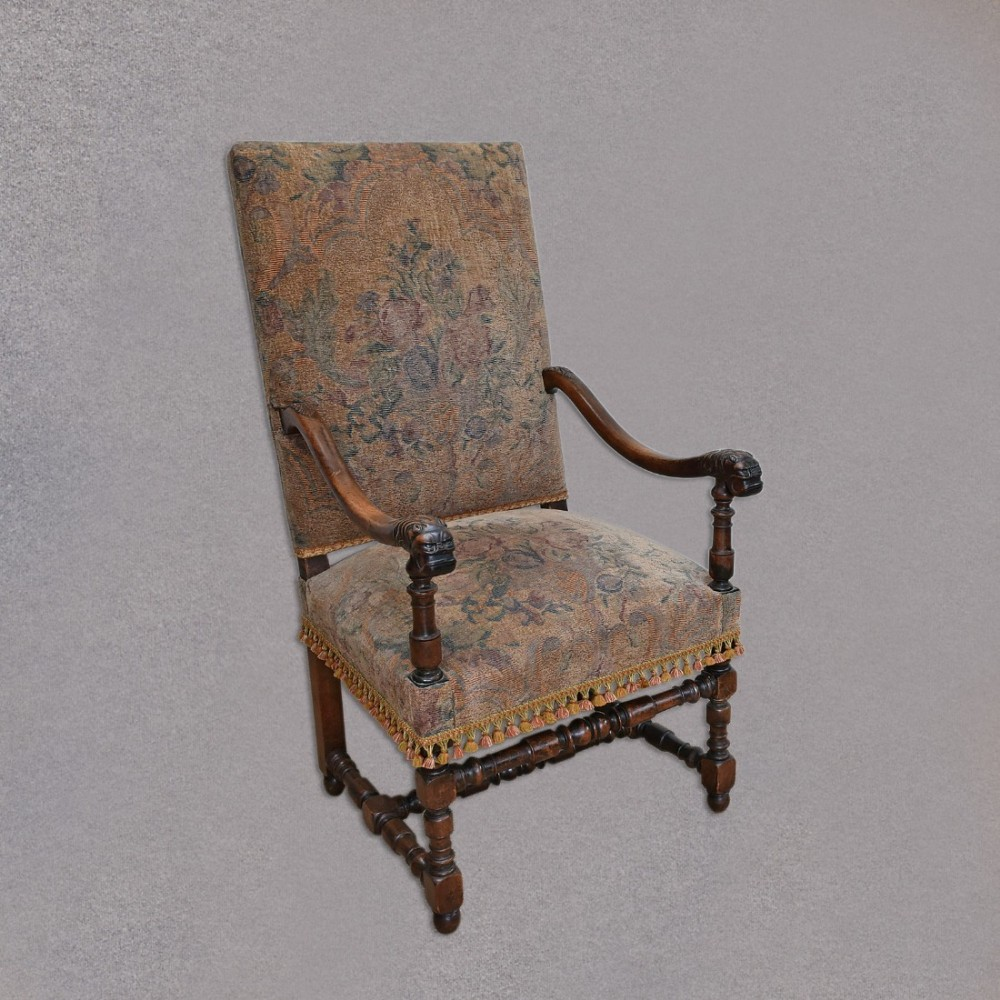 Antique easy chair - Antique Flemish Armchair Easy Chair Elbow Large Quality Walnut Frame C1880