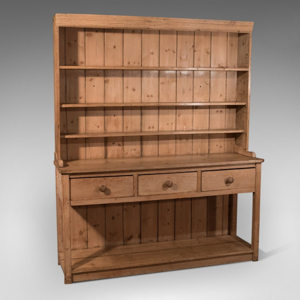 Country Kitchen Dresser: Antique Pine Large English Victorian Country Kitchen