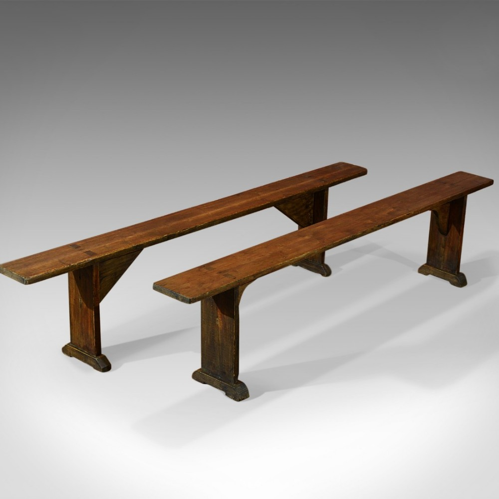 pair of antique benches victorian pine c 1900 473683