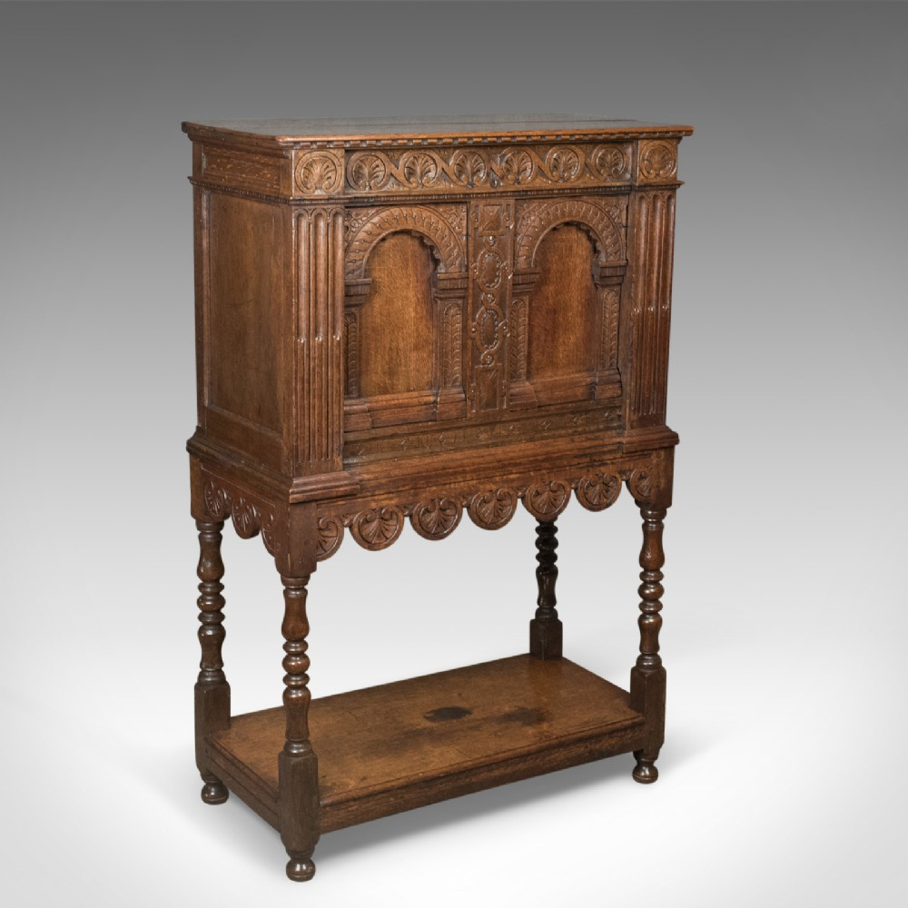 victorian antique livery cupboard in the 17th century taste english oak c1880