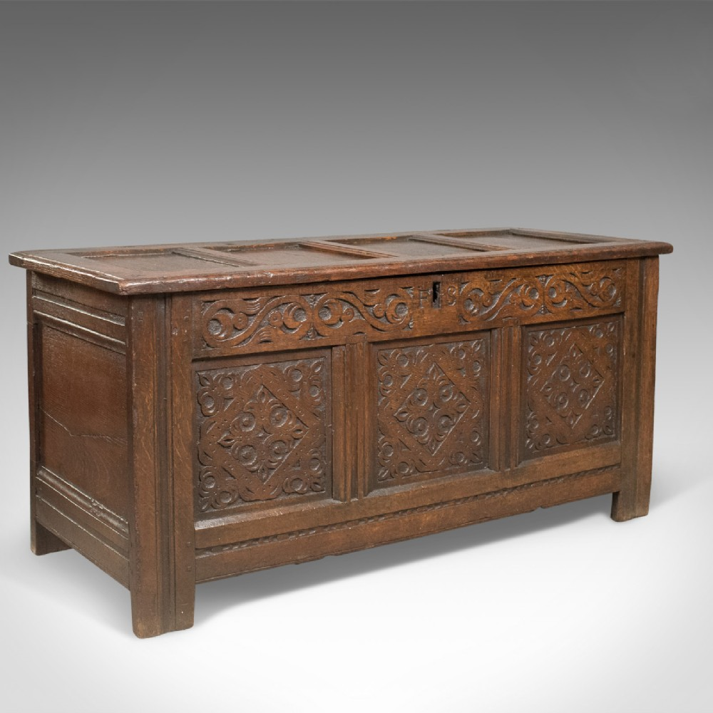 carved antique coffer english oak joined chest trunk c1700