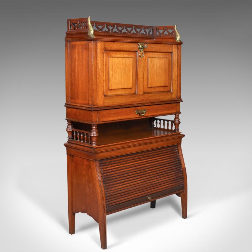 antique bureau cabinet english edwardian walnut cupboard circa 1910
