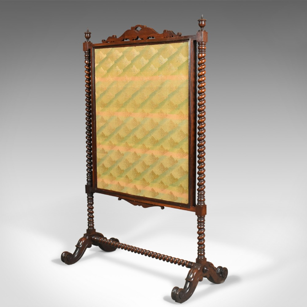 Large Antique Fire Screen Needlepoint Tapestry Panel Walnut Frame