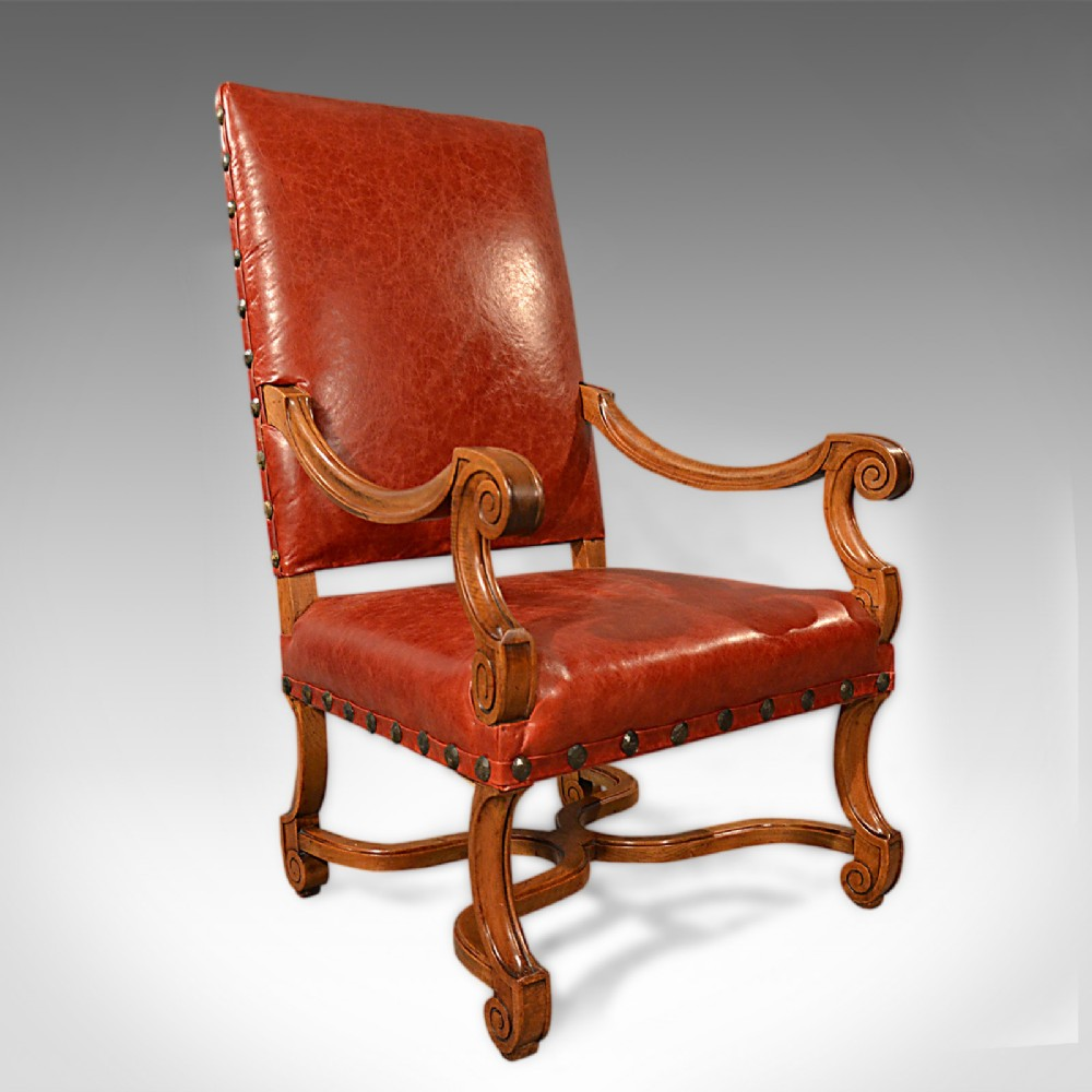 large antique leather armchair walnut frame french 19th century circa 1880