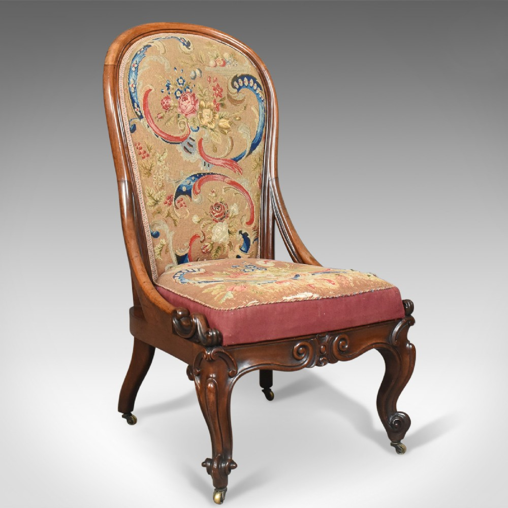 antique nursing chair english walnut needlepoint tapestry victorian circa 1840
