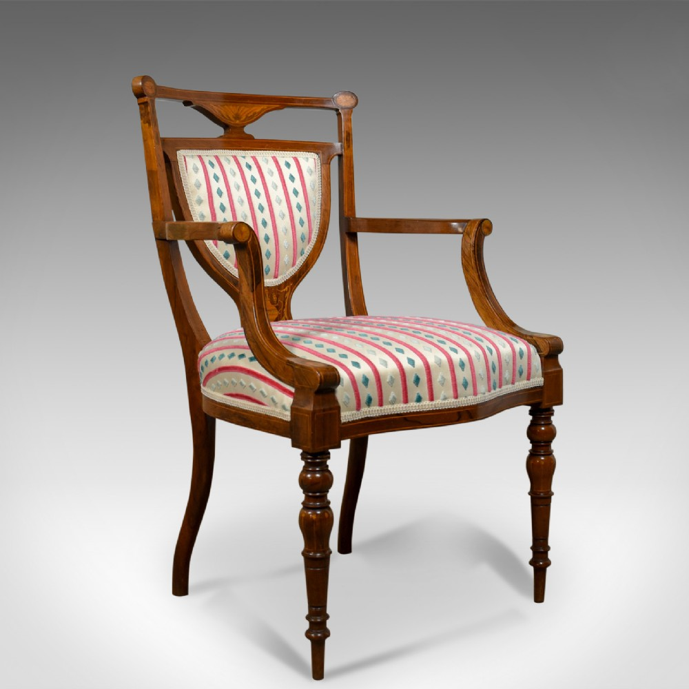 antique elbow chair rosewood english open armchair maple co circa 1910