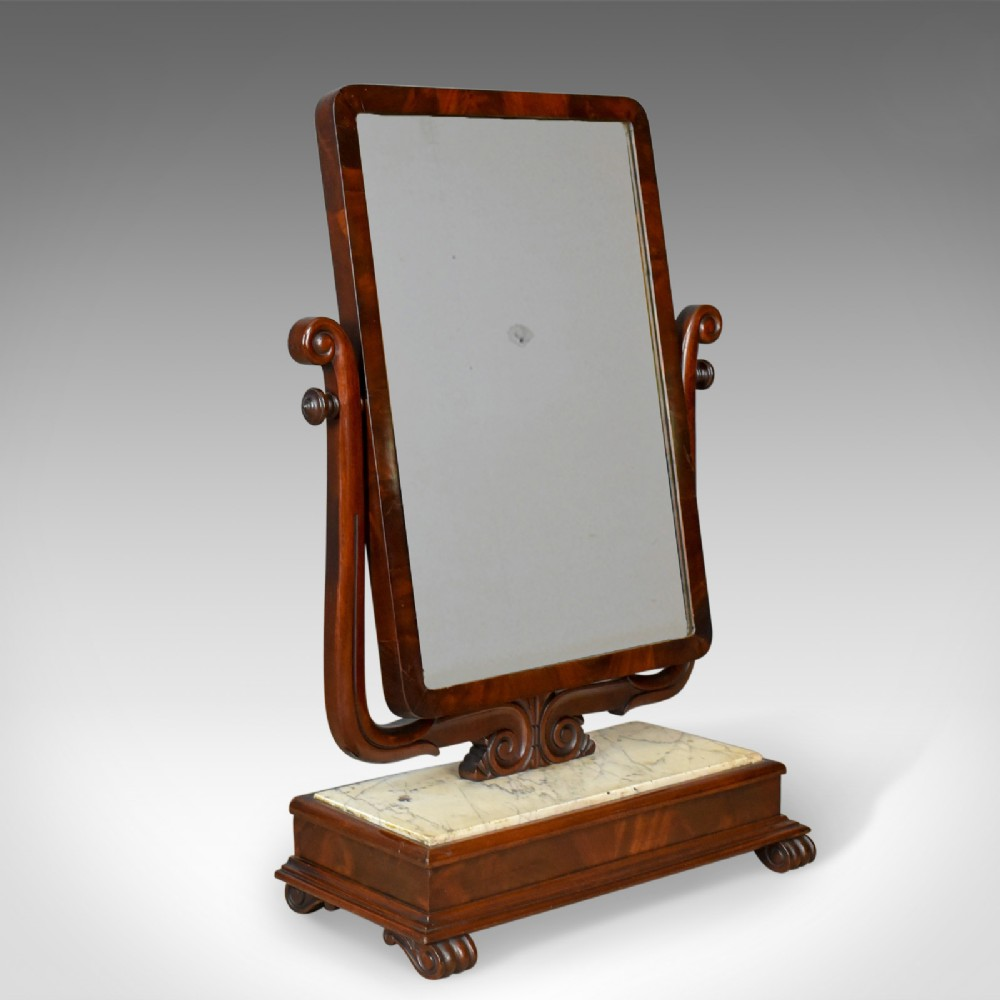 large antique vanity mirror toilet swing english victorian marble circa 1850
