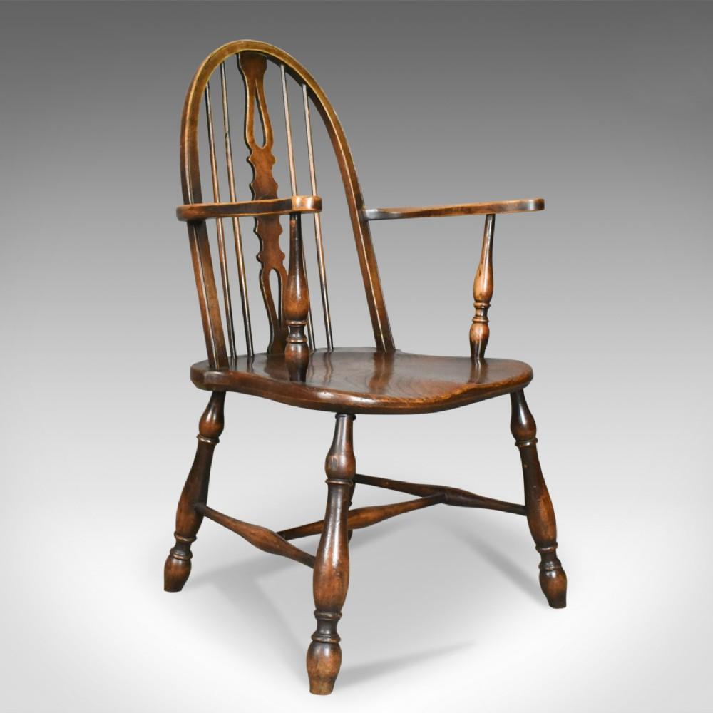 antique elbow chair english victorian bow back windsor beech elm circa 1890