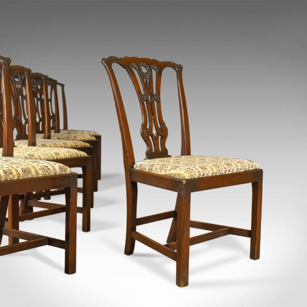 set of six antique dining chairs english victorian chippendale taste circa 1900